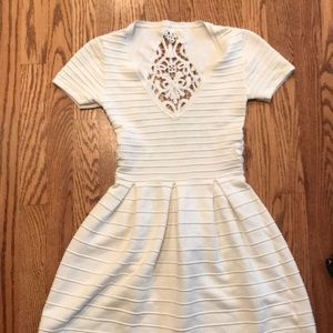 White deep V dress